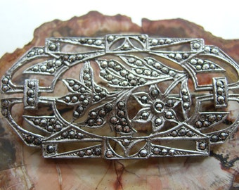 Sterling Silver and Marcasite Art Nouveau Brooch