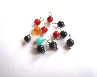 Set of 12 pendants agate 4mm beads