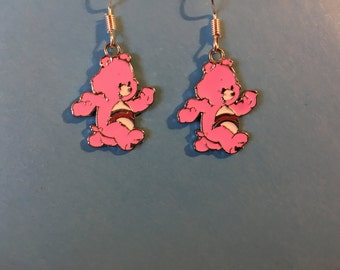 Pink Care Bear Earrings   J44