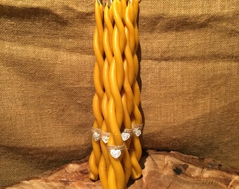 Hand dipped and twisted pure beeswax candle