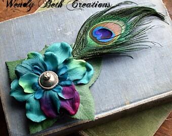 Simple Teal Multi Gardenia with Kuchi Button Center Hair Clip Fascinator - Tribal, Belly Dance, Fairy, Renaissance Festival, Peacock Feather