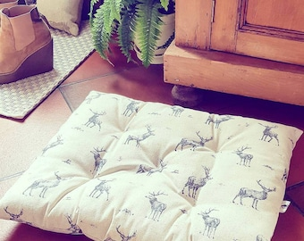 Stag Pet Bed - inky blue stags on natural neutral linen blend fabric cushion pillow - for cats & small dogs