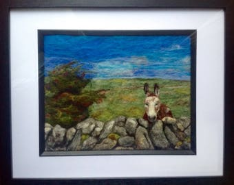 Felted donkey picture. Ireland.