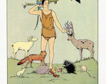 Vintage Mythology Illustration, Bookplate Print for Framing, Epimetheus Gifting the Animals, Margaret Evans Price Illustration