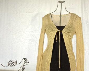 Long Cream Vintage Cardigan