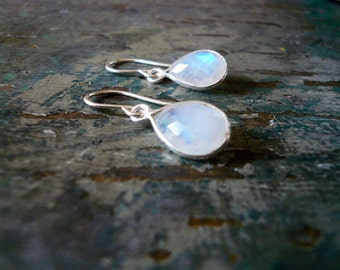 Tiny Moonstone Earrings in Silver - Tear Drop Rainbow Moonstone Gemstone and Silver Drop Earrings, Sterling Silver Moonstone Earrings