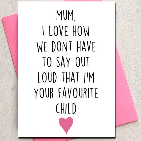 Items Similar To Mothers Day, Love Card, Mum, Favourite