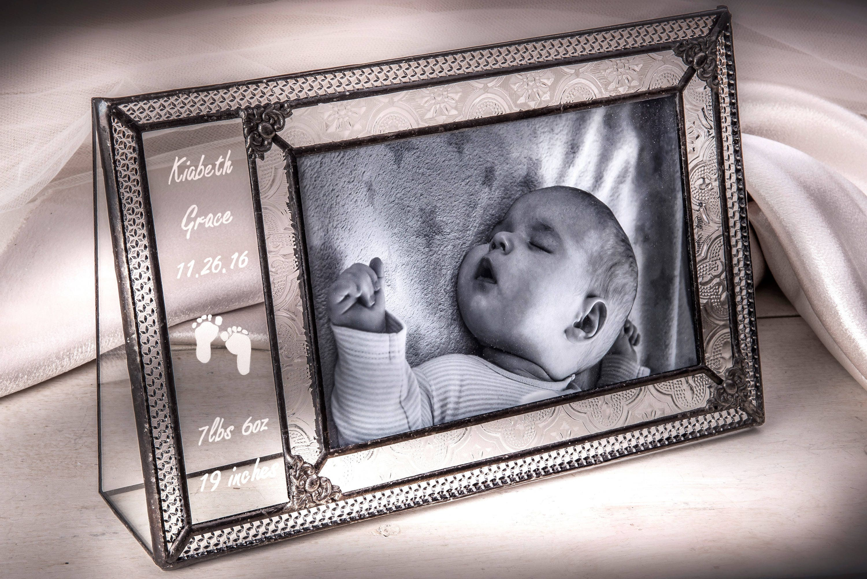 Baby Picture Frame Personalized Gift Engraved Glass Photo Frame ...