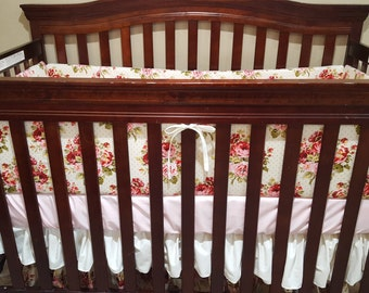 Baby Girl Crib Bedding -Rose Garden, Blush, and Ivory Crib Bedding Ensemble