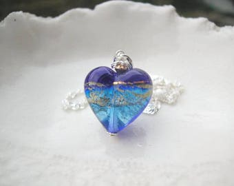 Blue Heart Necklace In Venetian Murano Glass