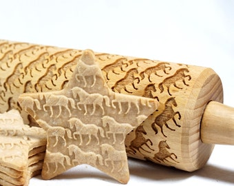 Horses - Embossed, engraved rolling pin for cookies