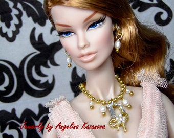 Doll jewelry set for Fashion Royalty, Poppy Parker, Barbie - necklace and earrings