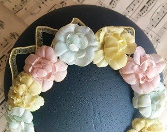 Vintage floral wreath wedding, boho wreath Crown, Crown flowers, pastel flowers wreath, wreath wedding, flower girl, bridesmaid