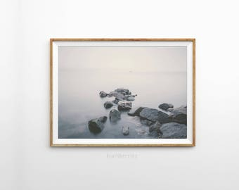 Foggy river art print photography - Moody Landscape -River fog print - Modern wall art - Photography art prints - Monochrome decor