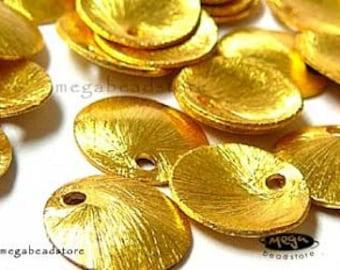 2 pcs 16mm Brushed Disc Charm  Vermeil Gold Findings F247V