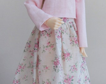 Pink top and floral skirt set  for MSD Minifee/Unoa, Slim Mini