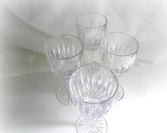 Crystal Wine Glasses, Wedding Glasses, Vintage Mikasa, Dublin Pattern, Set of Four, Bar Cart Decor