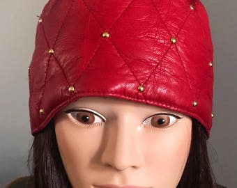 Vintage Leather Hat / Red Quilted Leather / Skull Cap / Fez / Kufi Style / Smoking Hat / Fit Size 7 Head / Gold Beading / 90s Fashion