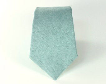 Men's Tie - J Crew Inspired Dusty Shale Groomsman Necktie - Dusty Grey Green Linen Neck Tie - matches BHLDN sea glass dresses - mens necktie