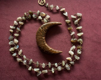 MOON NECKLACE PAGAN primitive celtic wicca witchy necklace with labradorite