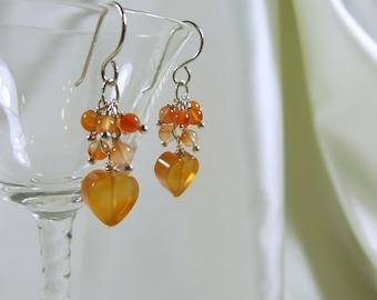 Carnelian Heart Cluster Earrings