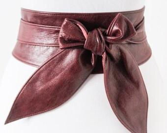 Maroon Burgundy Leather Obi Belt | Leather tie belt | Real Leather Belt| Ladies Belt | Plus size belts