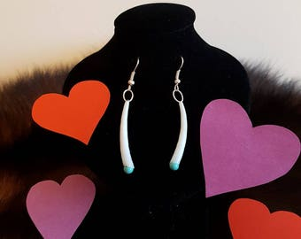 Turquoise Dentalium Earrings