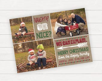 Christmas cards, Christmas cards photo, Christmas cards with photo, Christmas photo cards, Christmas photo collage card, Naughty or nice