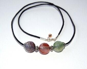 Fire Agate - Firebird Trio Necklace