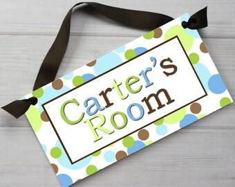 Mod Dots Boys Bedroom Baby Nursery Bathroom Kids DOOR SIGN DS0192