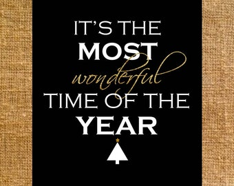 It's the Most Wonderful Time of the Year Sign - Holiday - Printable - Digital File - 8x10 - INSTANT DOWNLOAD