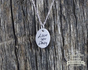 Personalized Engraved Handwriting Oval Necklace Custom Handwritten Message Oval Necklace Handwriting Necklace Your Handwritten Message