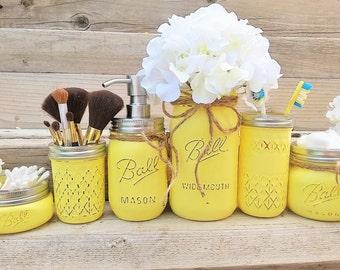 Yellow Mason Jar Bathroom Set, Yellow Bathroom Decor, Yellow Bathroom Set, Bathroom Organization, Yellow Bath Set, Bathroom Decor,Mason Jars