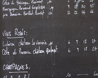 Paris Photography, Classic French Wine menu on a chalkboard, Black and White, Paris Menu, Typography, Kitchen home decor, French Kitchen Art