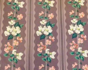 Vintage 40's Purple Floral Blossoms Puritan Cotton Decorator Fabric 47x45