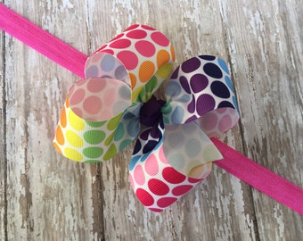 Multi Color Headband Polkadot Baby Bow Headband Baby Shower Gift Dots Big Bow Headband Toddler Headband Large Bow Headband Baby Headband