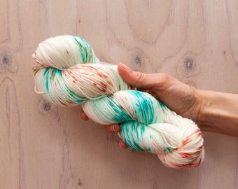 Hand dyed yarn, merino yarn, nylon yarn, sock yarn, hand dyed sock yarn, Speckled yarn, coral yarn, blue yarn, green yarn, fingering yarn