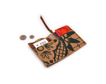 zip wallet • coin purse zipper wallet • geometric floral print - hand printed - slim wallet • cash and card wallet