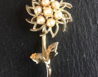 Vintage Floral Style Brooch 1950s Gold Tone Faux Pearl Scarf Lapel Pin Birthday Mothers Day Gift For Her Retro
