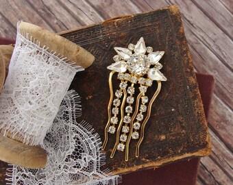 Deco Star Hair Pin Bridal Hair Accessory Gold Art Deco Headpiece Crystal Star Hair Accessory Vintage Style Wedding Star Headpiece Mini Comb