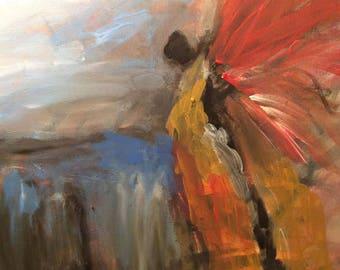 Angel3, angel art, angel painting, guardian angel, baby room art, religious art, angel wings, acrylic angel painting