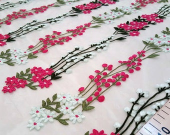 Pink and green embroidered lace fabric #1817