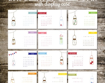 Desk Calendar, 2018 Calendar, Calendar 2018, Office Calendar, Desktop Calendar, Mason Jars, Office Gift, Christmas Gift, Stocking Stuffer