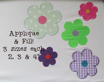 Buy 1 Get 1 Free! Flower Applique Embroidery Design Flower Embroidery Design Daisy Applique Design Daisy Embroidery Design Mini Flower Desig