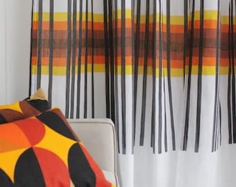 French Sheer Voile Modern Design Printed Drapery Panels Made-to-order/ Pick Up Stix, Golden Orange or Kiwi Green