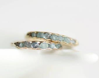 Raw Aquamarine Band Ring. Aquamarine Ring. Aquamarine Wedding Ring. Aquamarine Wedding Band. Aquamarine Engagement Ring. Raw Aquamarine Ring