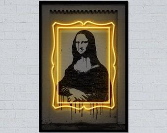Mona Lisa art mona lisa print neon art neon sign street art stencil art wall art home decor da vinci art gift for him gift for her