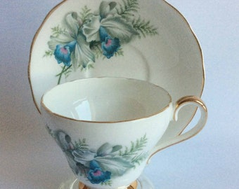 Royal Adderley/Adderley H1448 Blue Orchids Bone China Tea Cup and Saucer