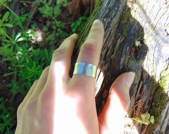 Handmade Hammer Texture Nickel Ring