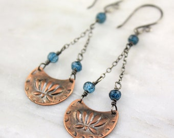 Lotus Stamped Copper and London Blue Topaz Chandelier Earrings
